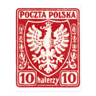 1919 10h Polish Eagle Stamp Postcard