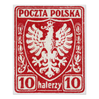 1919 10h Polish Eagle Stamp Poster