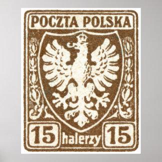 1919 15h Polish Eagle Stamp Poster