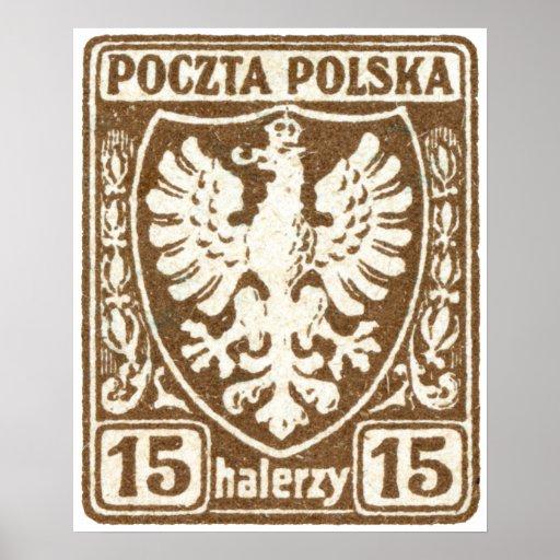 1919 15h Polish Eagle Stamp Print
