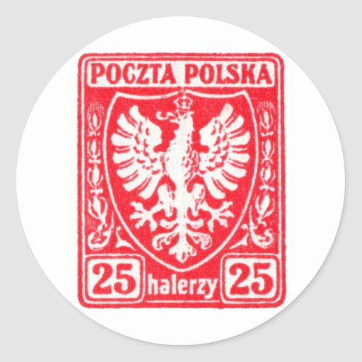 1919 25h Polish Eagle Stamp Classic Round Sticker