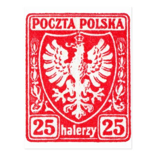 1919 25h Polish Eagle Stamp Postcard