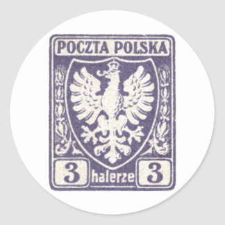 1919 3h Polish Eagle Stamp Classic Round Sticker
