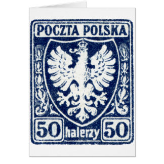 1919 50h Polish Eagle Stamp Greeting Cards