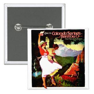 1919 lucios enarbolan el poster de Colorado Pin Cuadrada 5 Cm