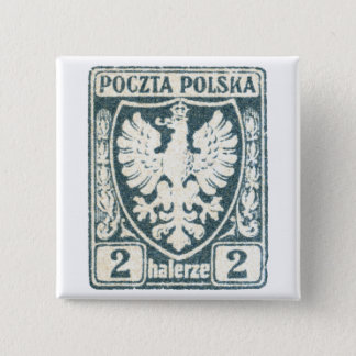 1919 Polish Eagle 2h Postage Stamp Button