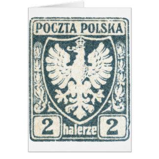 1919 Polish Eagle 2h Postage Stamp Greeting Card
