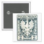 1919 sello polaco de Eagle 2h Pin Cuadrado