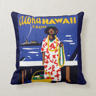 1920 Aloha from Hawaii Throw Pillow