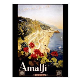 1920 Amalfi Coast Italy Travel Poster Postcard