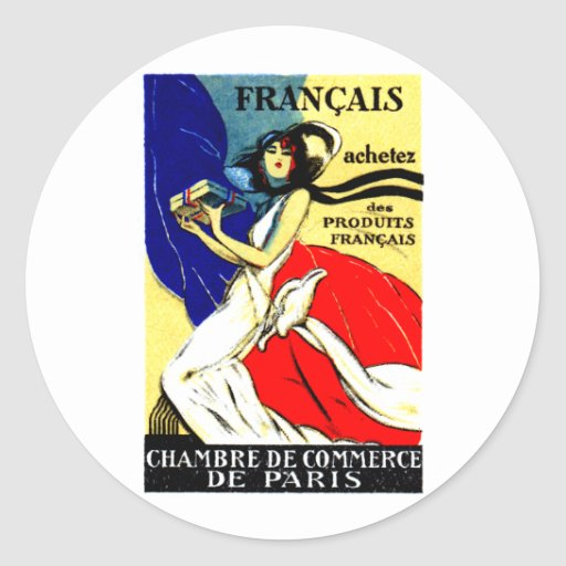 1920 Buy French Products Poster Round Sticker
