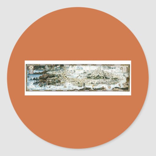 1920 Classic Fairyland Imaginary Map Classic Round Sticker