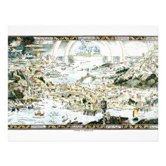 "1920 Classic Fairyland Imaginary Map 8.5"" X 11"" Flyer"
