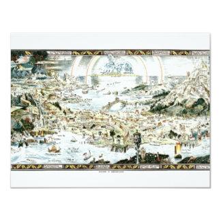 "1920 Classic Fairyland Imaginary Map 4.25"" X 5.5"" Invitation Card"