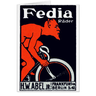 1920 Devil Riding a Bicycle Card