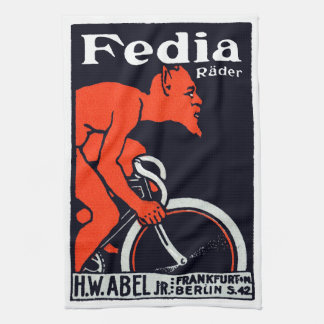 1920 Devil Riding a Bicycle Kitchen Towel