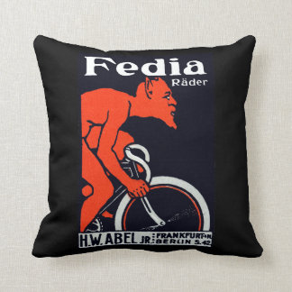 1920 Devil Riding a Bicycle Throw Pillow
