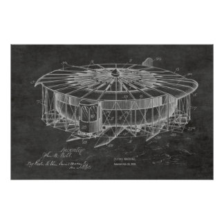 1920 Flying Machine Airplane Patent Drawing Print