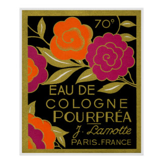 1920 French Eau de Cologne Pourprea perfume Poster