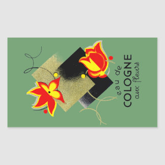 1920 French Floral perfume Rectangular Sticker