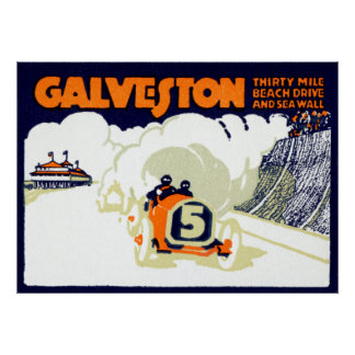 1920 Galveston Auto Race Poster