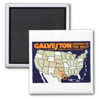 1920 Galveston Texas Poster 2 Inch Square Magnet