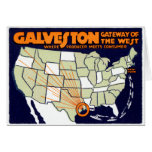 1920 Galveston Texas Poster Greeting Card