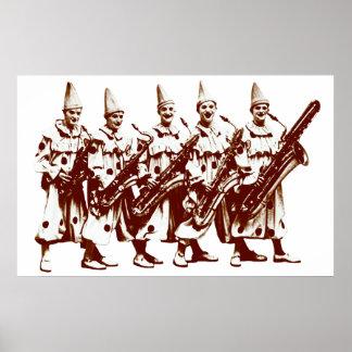 1920 Jazz Clowns, brown Poster