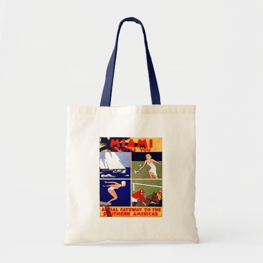 1920 Miami Travel Poster Tote Bag