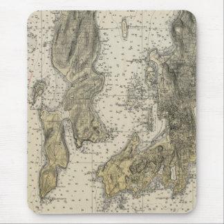 1920 Narragansett Bay Newport, RI Harbor Chart Mouse Pad