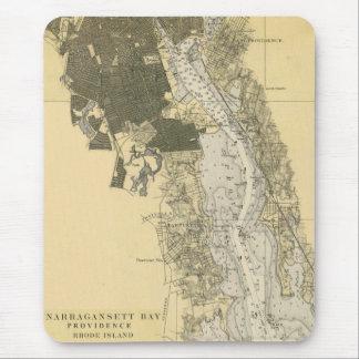 1920 Narragansett Bay Providence RI Harbor Chart Mouse Pad