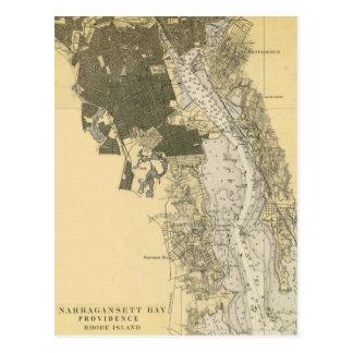 1920 Narragansett Bay Providence RI Harbor Chart Postcard