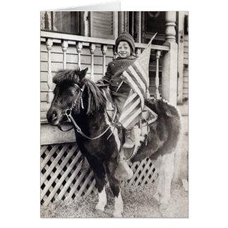 1920 Patriotic Boy riding Pony Card