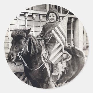 1920 Patriotic Boy riding Pony Classic Round Sticker