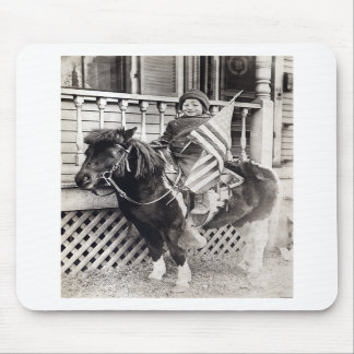 1920 Patriotic Boy riding Pony Mouse Pad