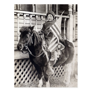 1920 Patriotic Boy riding Pony Postcard