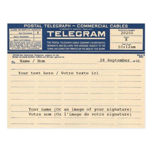 1920 Postal Telegram (Postcard)