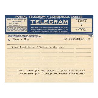 1920 Postal Telegram (Postcard) Cartes Postales