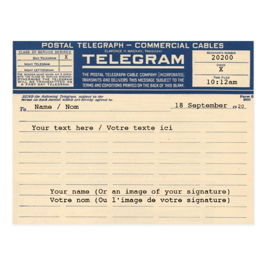 1920 Postal Telegram (Postcard) Postcard