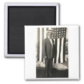 1920 Proud American Gentleman 2 Inch Square Magnet