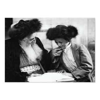"""1920 que estudia el Torah, negro + blanco Invitación 5"""" X 7"""""""