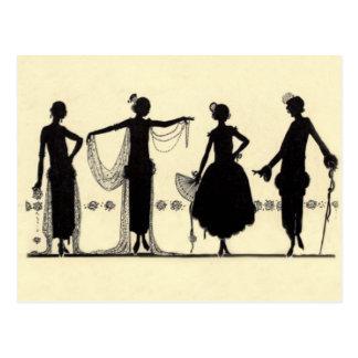 1920 s Flapper Fashion Silhouette Postcard