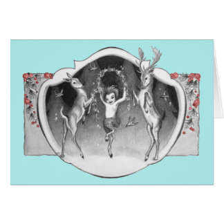 1920 s Satyr with Deer Xmas Greeting Card
