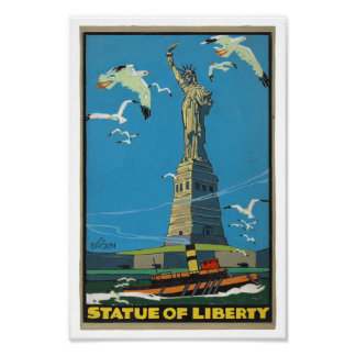 1920 s Vintage Statue of Liberty Posterette Poster