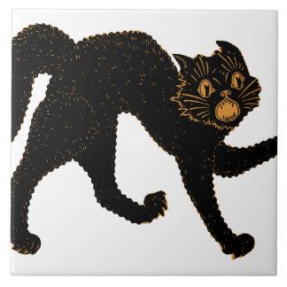 1920 Scary Black Cat Ceramic Tile