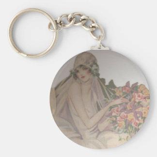 1920 Vintage beautiful bride Basic Round Button Keychain
