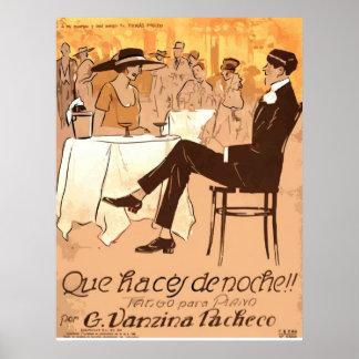 1920 Vintage Caricature Argentina Sheet Music Poster