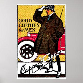 1920 Vintage Men's Clothing Poster