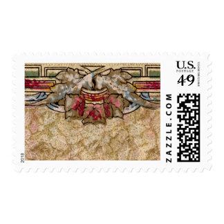 1920 Wallpaper Floral Border Card (29) Stamp