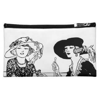 1920's 2 Ladies Vintage Fashion Hats and Dresses Cosmetics Bags